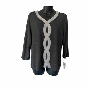 ALFRED DUNNER HEATHER GREY TOP SIZE SMALL